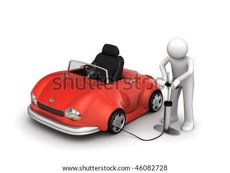 Man pumping red cabrio's tyre (funny micromachines series)