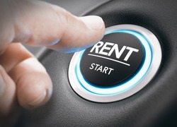Man pushing a start button with the word rent. concept of car or vehicle rental. Composite image between a hand photography and a 3D background.