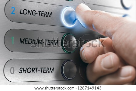 Man pushing an elevator buttons where it is written long term. Investment Concept. Composite image between a hand photography and a 3D background. Stockfoto ©
