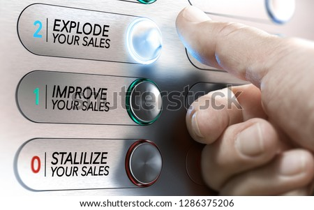 Man pushing an elevator buttons where it is written stabilize, improve or explode your sales. Salesforce motivational concept. Composite image between a hand photography and a 3D background.