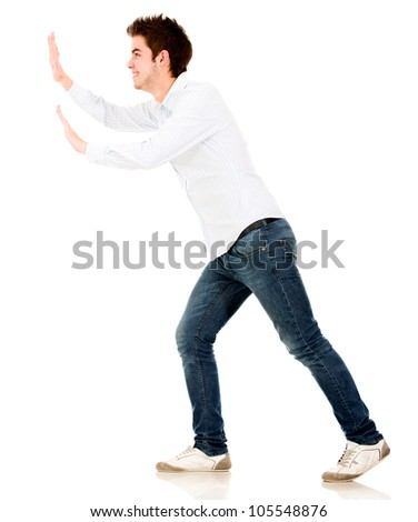Man pushing an imaginary object - isolated over a white background