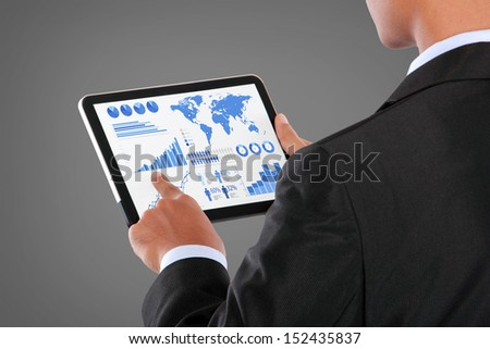 man pushing on a touch screen tablet PC infographics