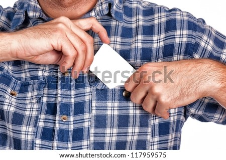 Man puts a blank card in his pocket