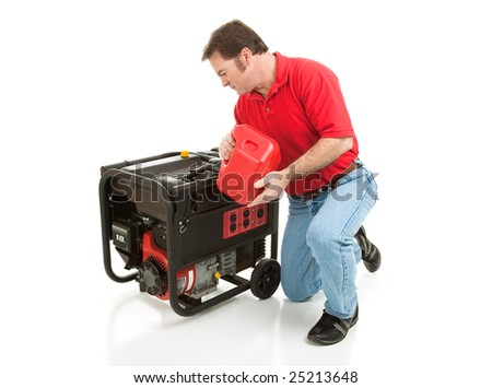 Man puts gasoline in his 10 horsepower electric generator.  Full body isolated on white.