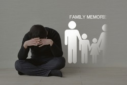 Man putting hand on head and family members pictogram disappearing gradually