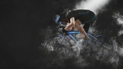 Man racing cyclist in motion on smoke background. Sports banner. Horizontal copy space background