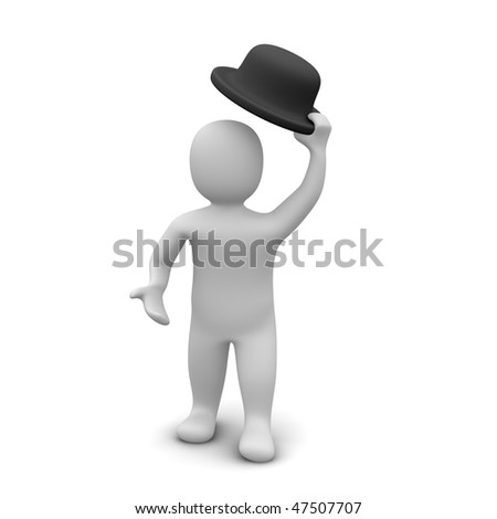 Man raising the hat. 3d rendered illustration. - stock photo