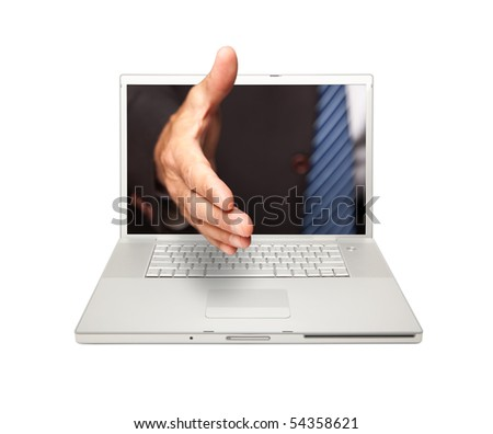 Man Reaching for a Handshake Through Laptop Screen Isolated on a White Background.