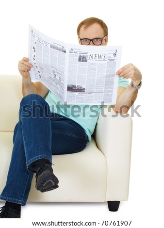 Man reading newspaper. People sitting on sofa isolated on white background