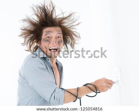 Man receiving an electric shock after a short circuit