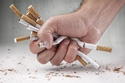 Man refusing cigarettes concept for quitting smoking and healthy lifestyle