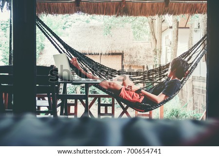 Man Relax  on summer day relaxing concept #700654741