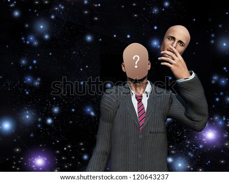 Man removes face showing query before stars