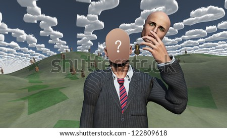 Man removes face showing question in landscape with question shaped clouds