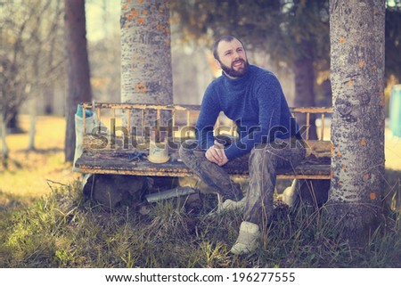 man resting in the village