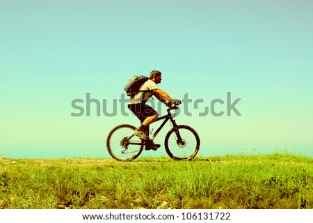 Man rides a bicycle