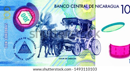 Man riding a four wheel two horse drawn carriage (city tour).  portrait from Nicaragua 100 Cordobas 2014 Banknotes. Nicaraguan money Closeup Collection. #1493110103