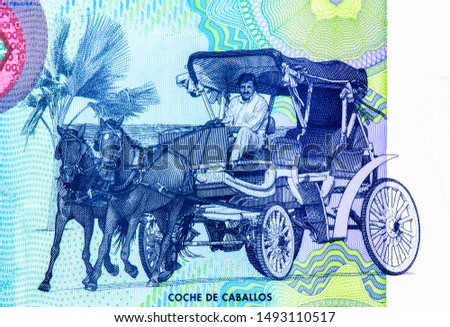 Man riding a four wheel two horse drawn carriage (city tour).  portrait from Nicaragua 100 Cordobas 2014 Banknotes. Nicaraguan money Closeup Collection. #1493110517