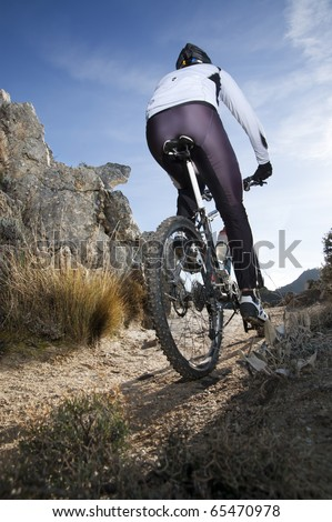 Man riding a mountainbike on a mountain track, view from behind