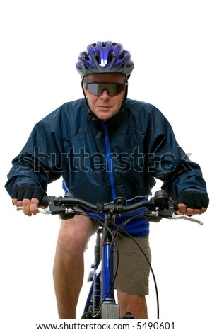 Man riding towards you on a mountain bike. Isolated on white, high key shot.