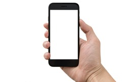 Man right hand holding black smartphone with blank screen, isolated on white background
