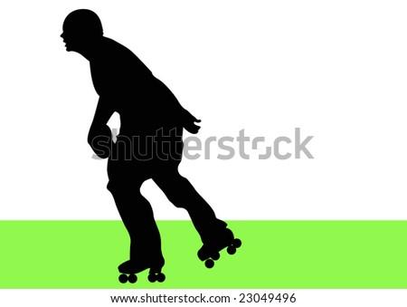 man rollerblading