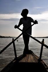 Man rowing boat at Mekong delta, Chau Doc (Vietnam)