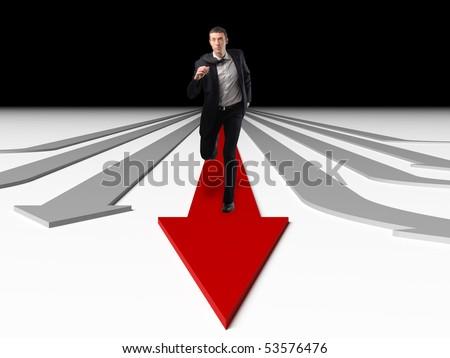 man run on red succesfull business arrow