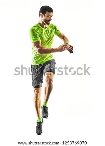 man runner running jogger jogging time isolated silhouette white #1253769070