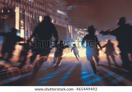 man running away from zombies in night city,illustration,digital painting Foto stock ©