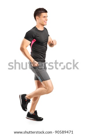 Man running isolated against white background