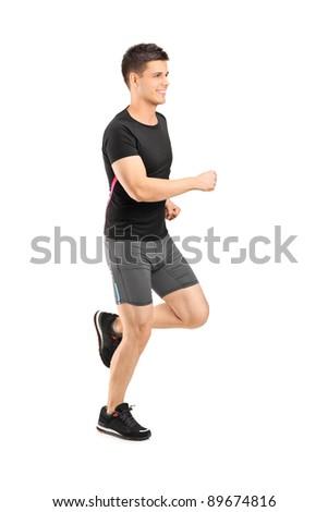 Man running isolated on white background