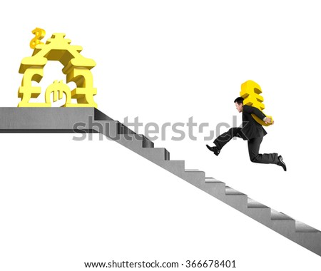 Man running on concrete stairs carrying gold Euro to money stacking house isolated in white background