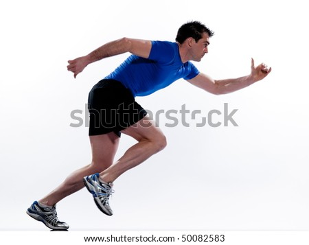 man running on studio white isolated background