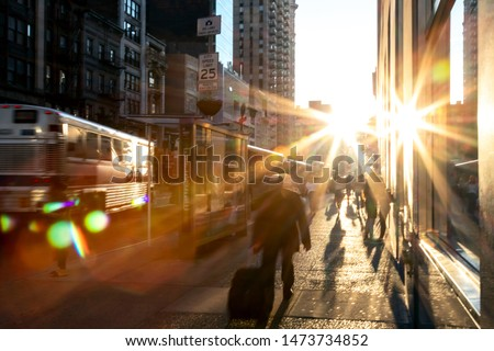 Man rushing down the sidewalk in Manhattan New York City with br #1473734852