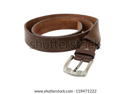 Man's belt on white background