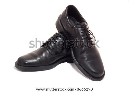 man's black business shoes