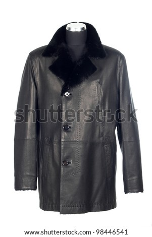 Man`s black leather jacket with fur isolated on the white background #98446541