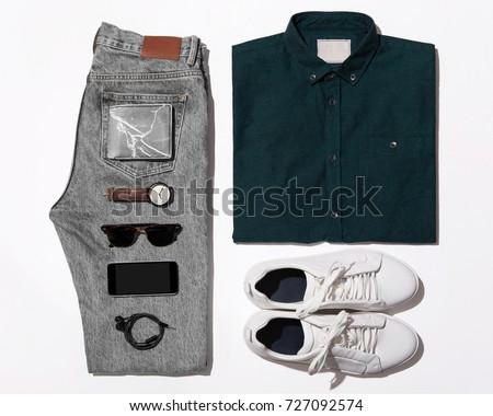 Man's clothing (shirt,jean,wallet,watch,sunglasses,phone,earphone and shoe) #727092574