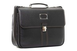 man s expensive elegant briefcase on a white background