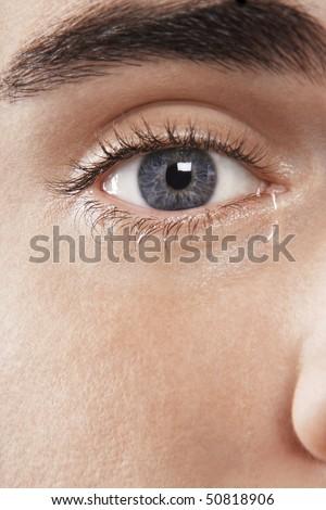 Man's eye, crying