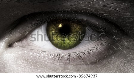 man's eye in close up