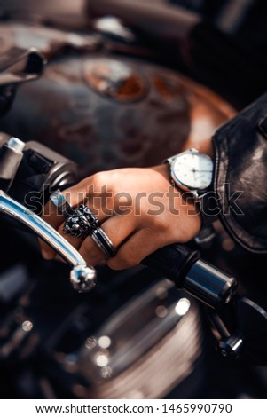 Man's Fashion Details with Rings and Watch - Beauty Man Motorcycle Detail - Lifestyle