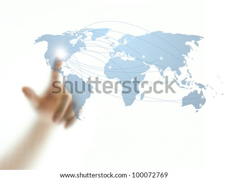 Man's finger touching world map screen for connectivity concept