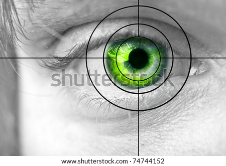 Man's green eye and target close up