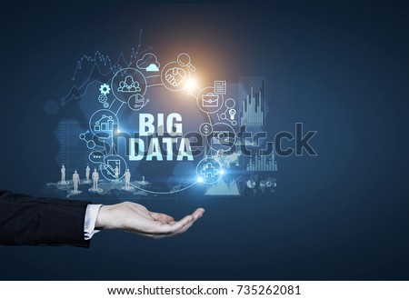 Man s hand, a big data sketch drawn against a dark blue background. Concept of hi tech and innovation in business and production. Toned image double exposure Elements of this image furnished by NASA