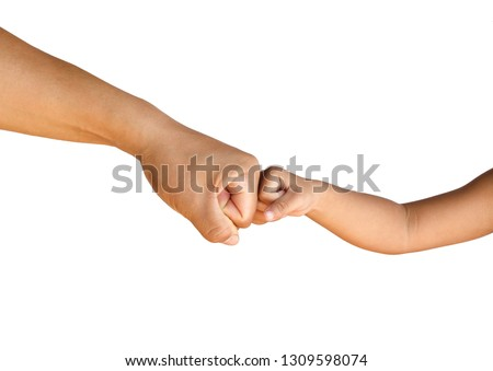 man's hand and child's hand to fist bump for succes teamwork on white background, isolate with clipping path Photo stock ©