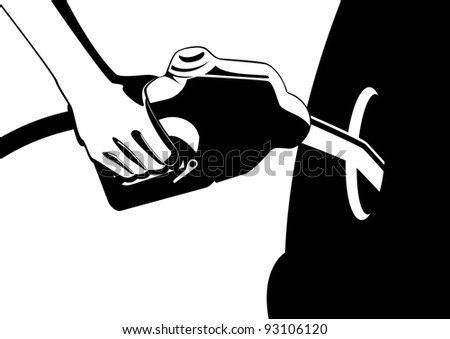 Man's hand holding a gun inserted in filling the fuel tank filler neck car. Black and white illustration.