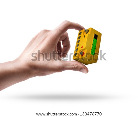 Man's hand holding Battery car isolated on white background