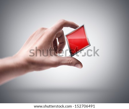Man's hand holding card sign